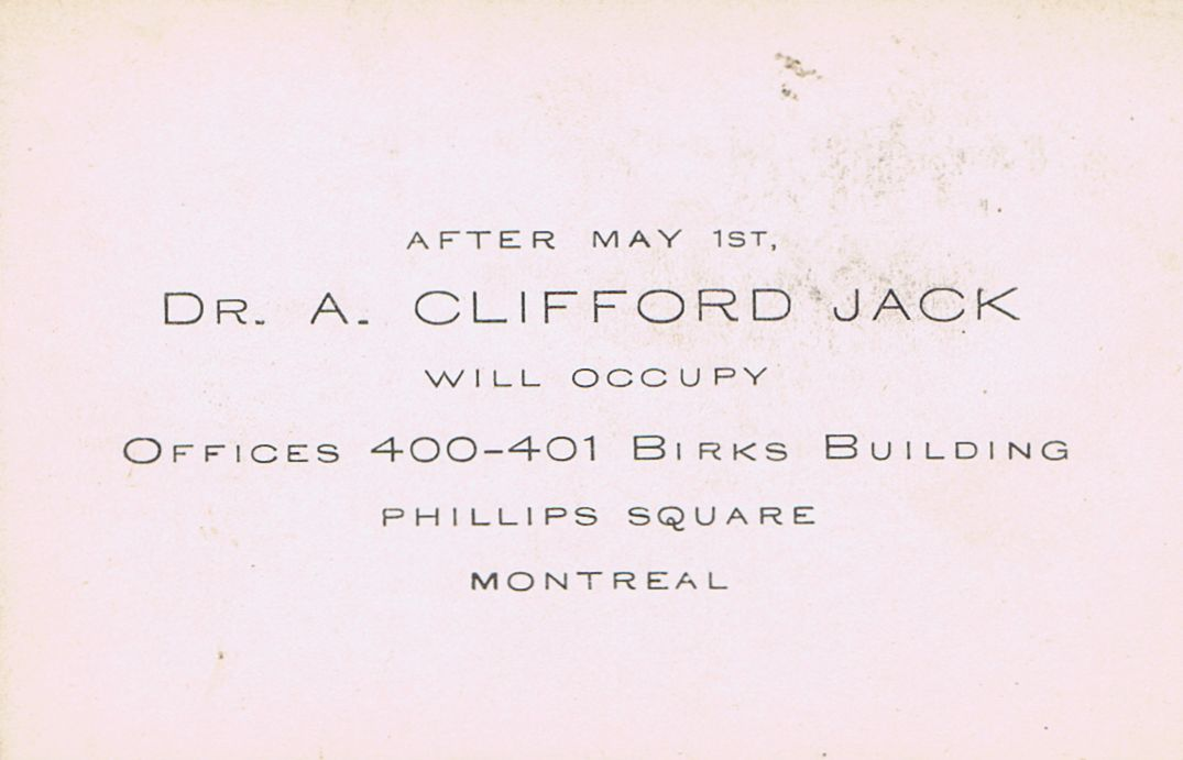Business Card Dr. A Clifford Jack Montreal