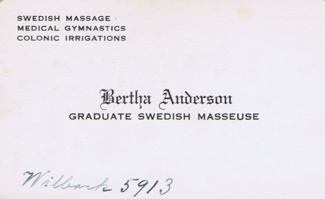 Business card Bertha Anderson Graduate Swedish Masseuse Montreal