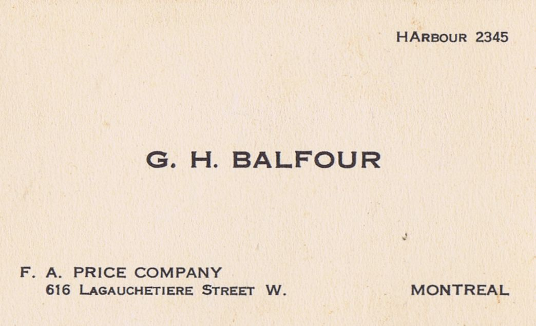 Business Card G H Balfour F A Price Company Montreal