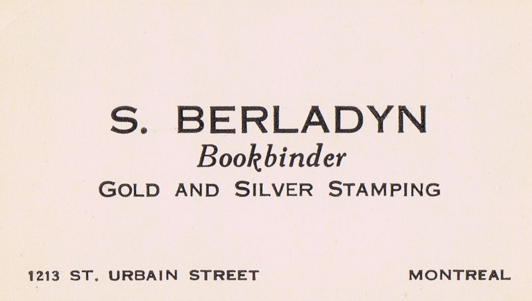 Business Card S Berladyn Bookbinder Montreal