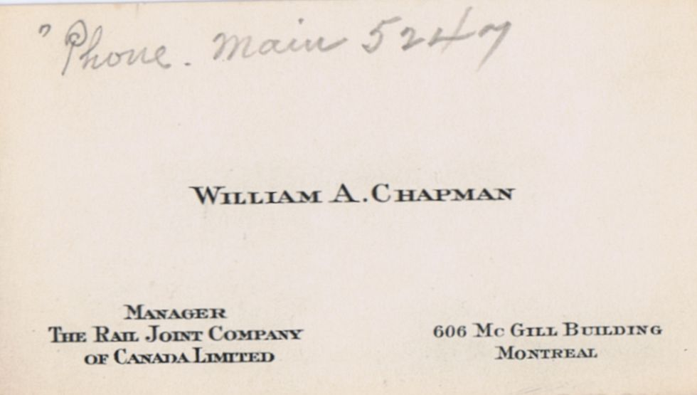 Business Card William A Chapman The Rail Joint Company Montreal