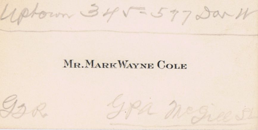 Business Card Mark Wayne Cole Montreal