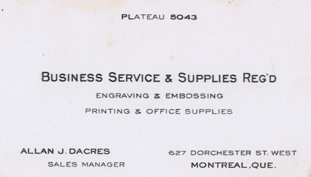 Business Card Allan J Dacres Business Service & Supplies Montreal