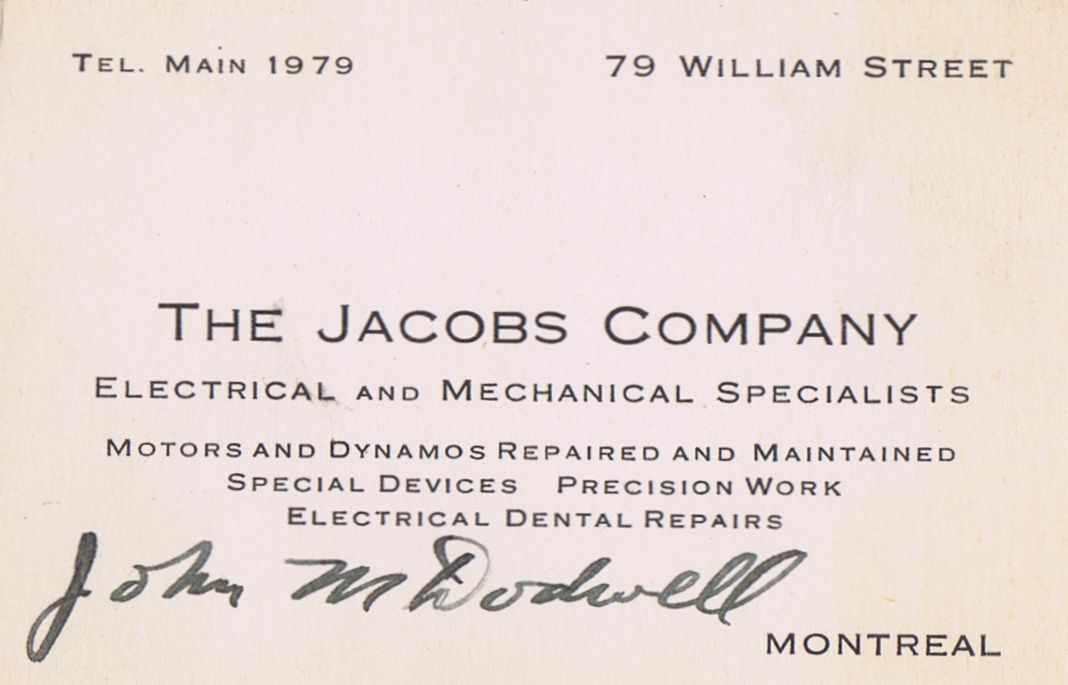 Business Card John M Dodwell The Jacobs Company Montreal