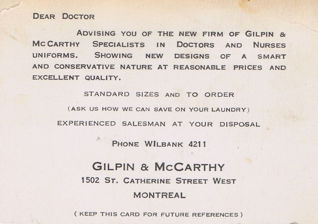 Business Card Gilpin & McCarthy Uniforms Montreal