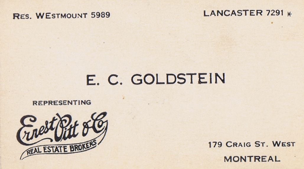 Business Card E C Goldstein Ernest Pitt & Co Montreal
