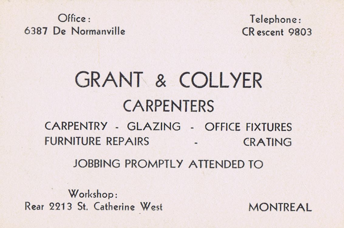 Business Card Grant & Collyer Montreal