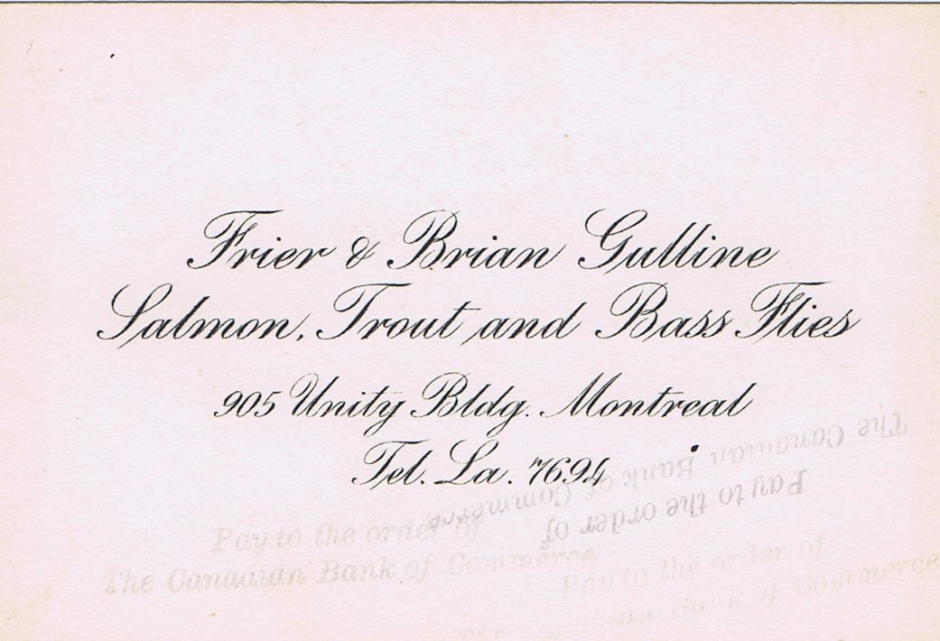 Business Card Frier & Brian Gulline Flies Montreal