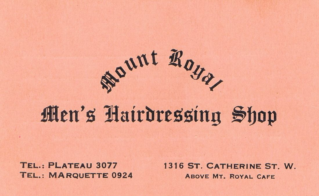 Business Card Mount Royal Men's Hairdressing Shop Montreal
