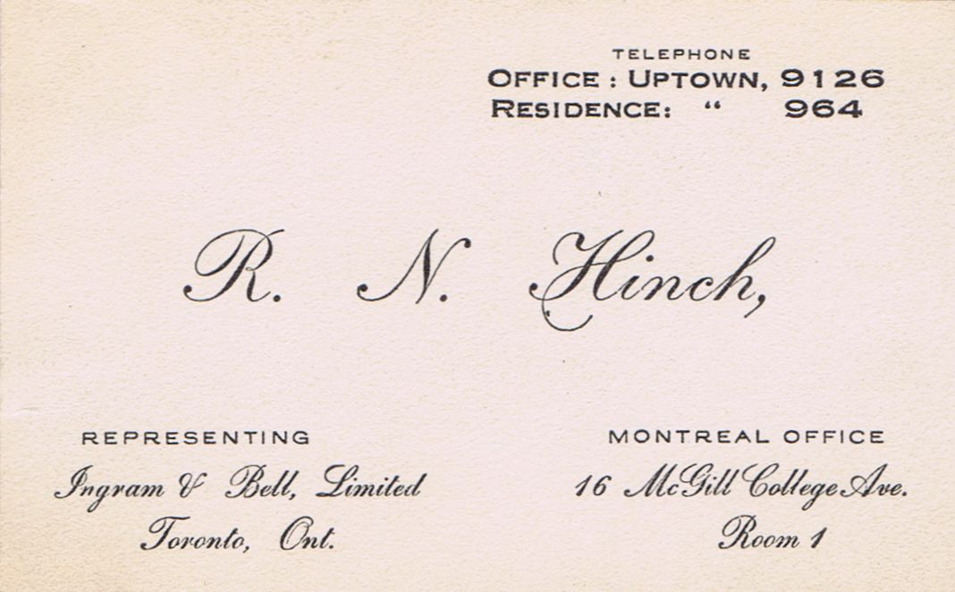 Business Card R N Hinch Ingram & Ball Montreal