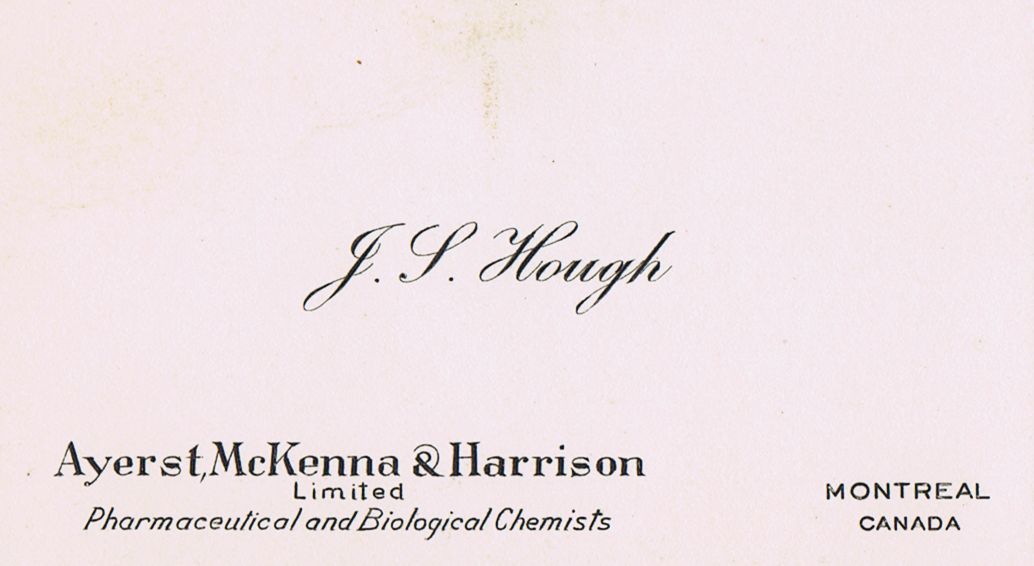 Business Card J S Hough Ayerst, McKenna & Harrison Montreal