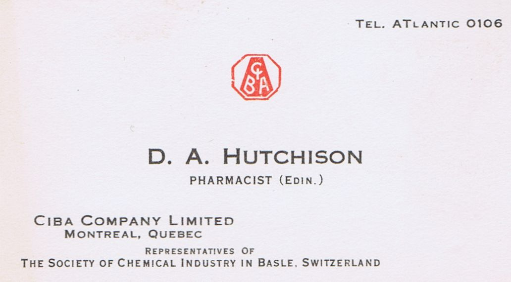 Business Card D A Hutchison CIBA Company Montreal