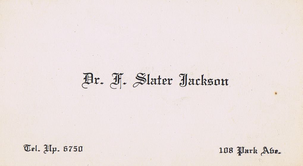 Business Card Dr. F Slater Jackson Montreal