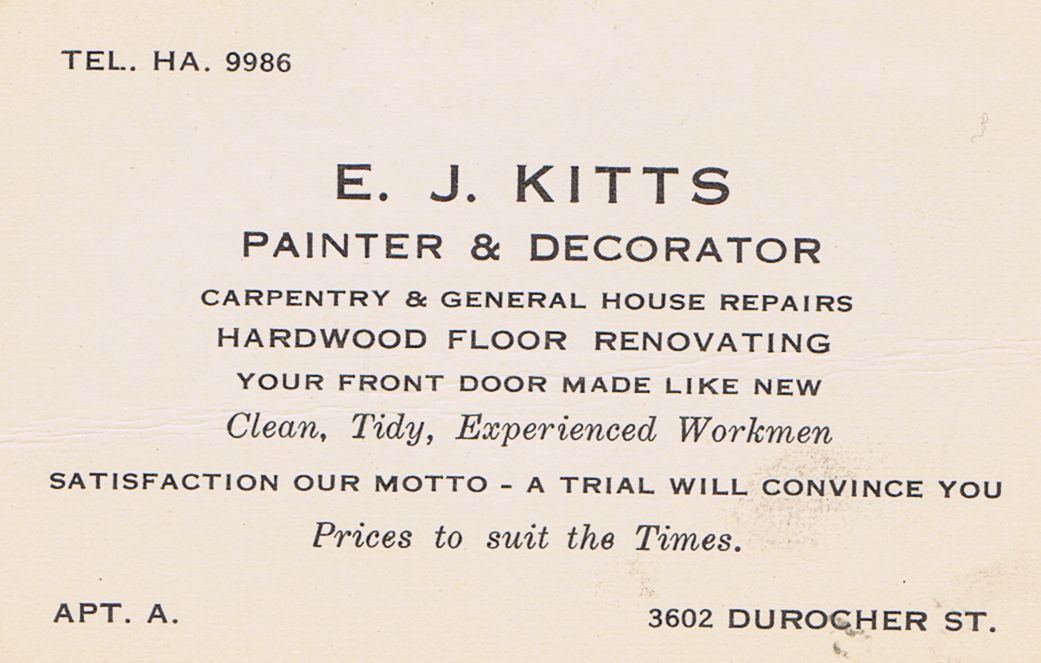 Business Card E J Kitts Painter & Decorator Montreal