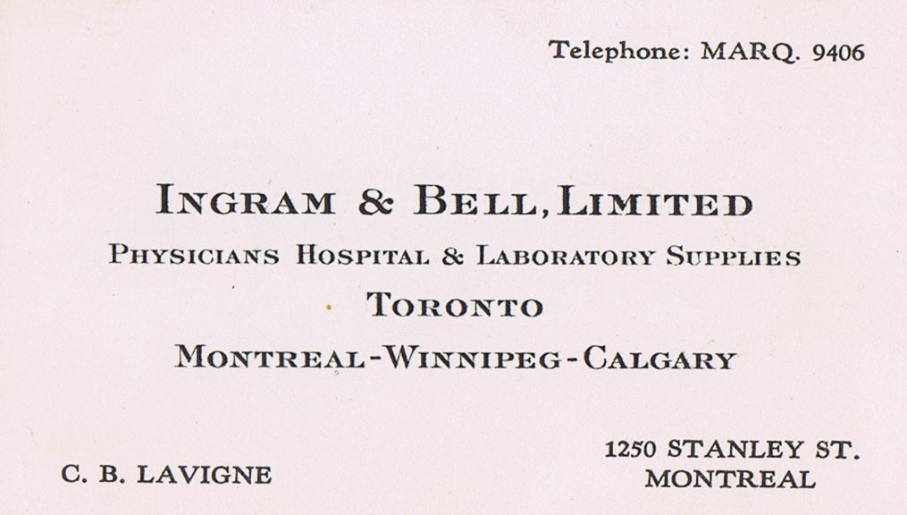 Business Card C B Lavigne Ingram & Bell Montreal