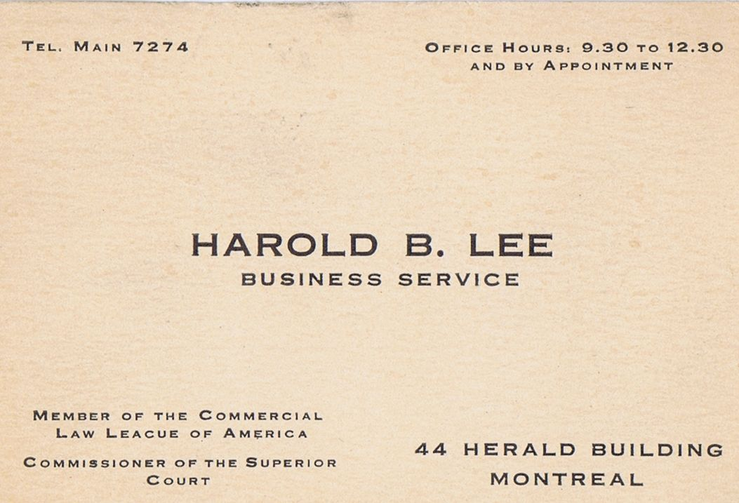 Business Card Harold B Lee Commissioner of the Superior Court Montreal