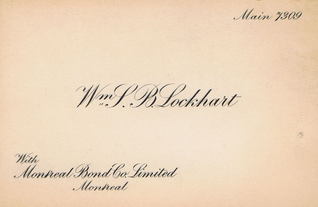 Business Card William S B Lockhard Montreal Bond Co.