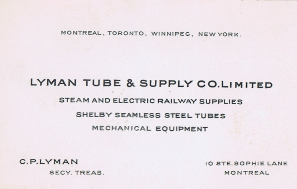 Business Card C P Lyman Tube Supply Co Montreal