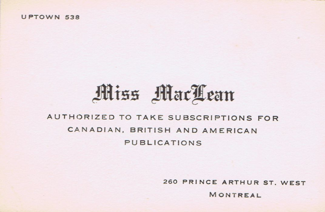 Business Card Miss MacLean Publishers' Agent Montreal