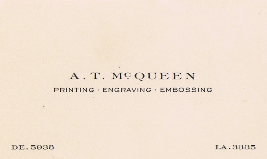 Business Card A T McQueen Printing Engraving Embossing Montreal