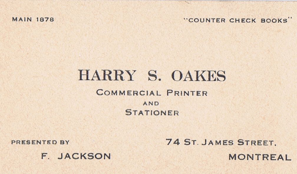Business Card Harry S Oakes Commercial Printer Montreal