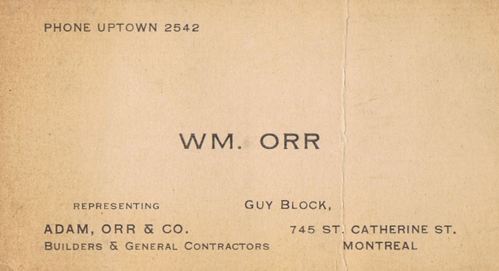 Business Card William Orr Adam Orr & Co Montreal