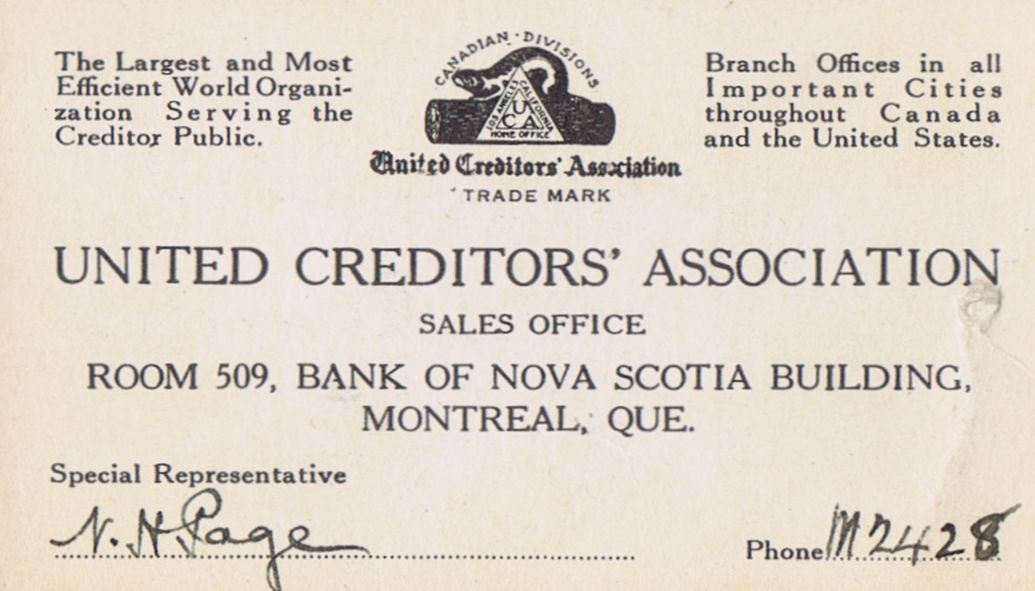Business Card N H Page United Creditors' Association Montreal
