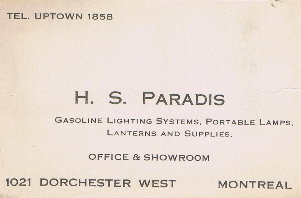 Business Card H S Paradis Lighting Montreal