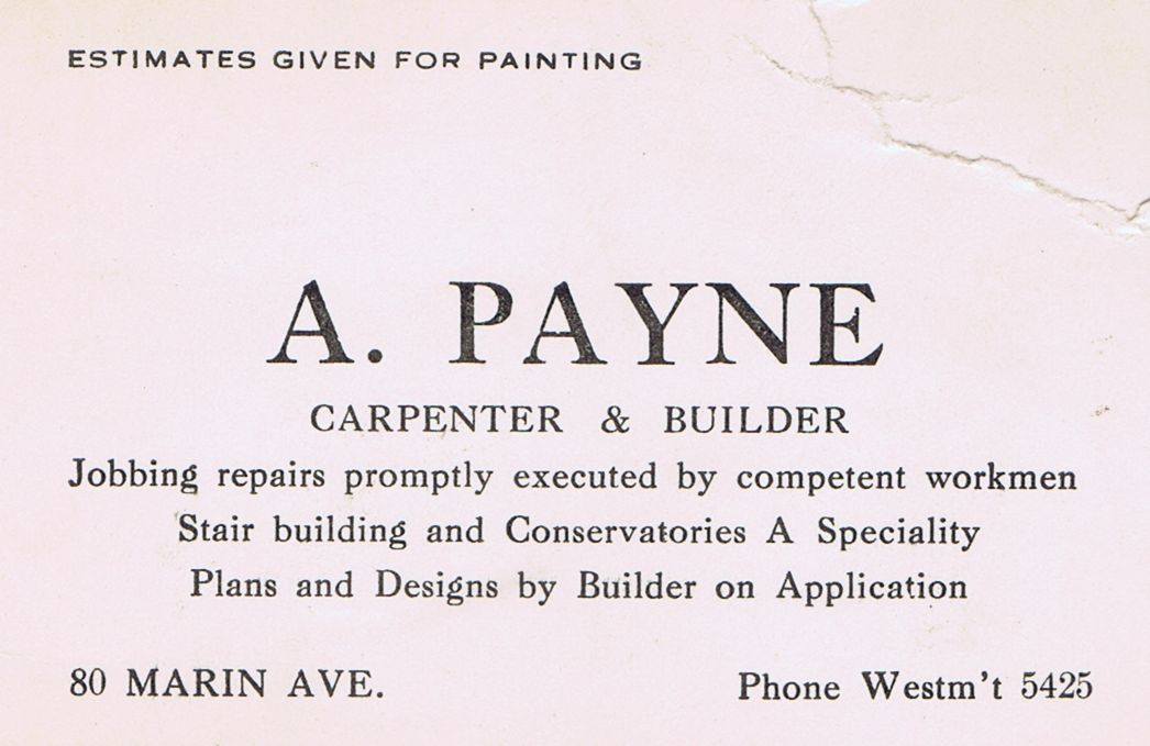 Business Card A Payne Carpenter & Builder Montreal