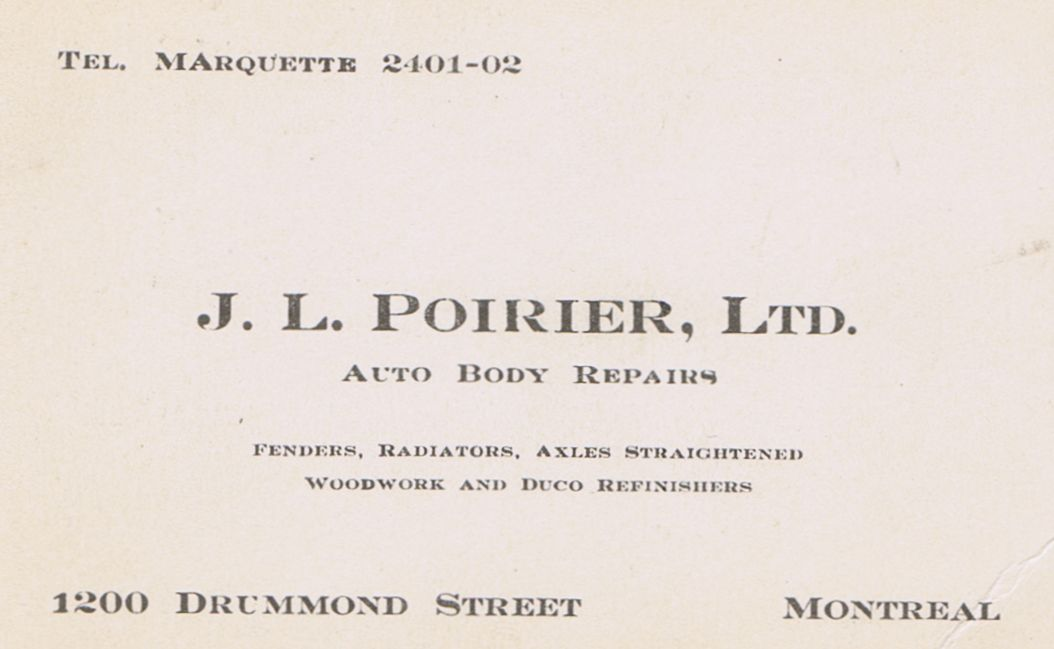 Business Card J L Poirier Ltd. Auto Body Montreal