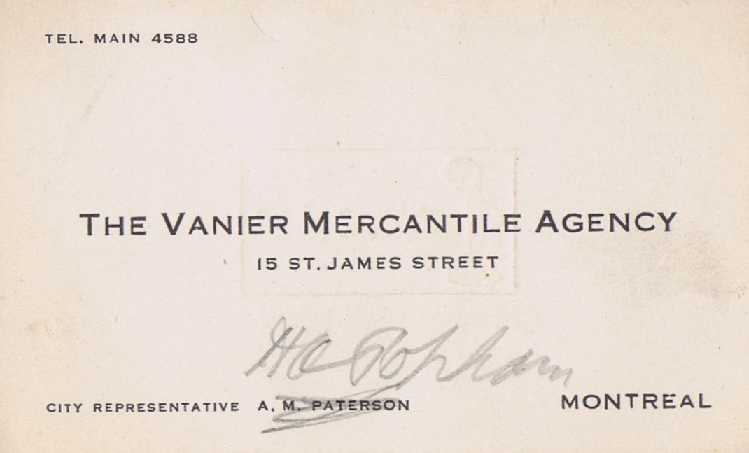Business Card Mr. Popham Vanier Mercantile Agency Montreal