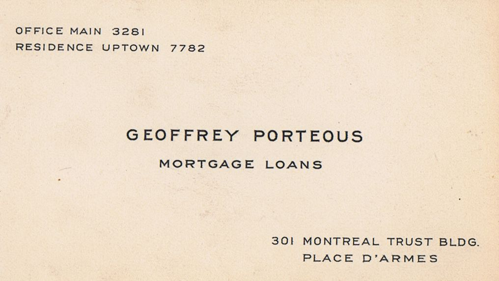 Business Card Geoffrey Porteous Mortgage Loans Montreal