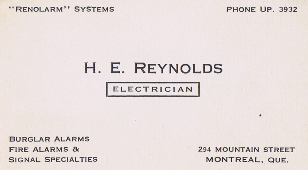 Business Card H E Reynolds Electrician Montreal
