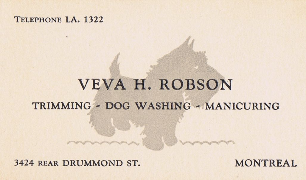 Business Card Veva H Robson Dog Groomer Montreal