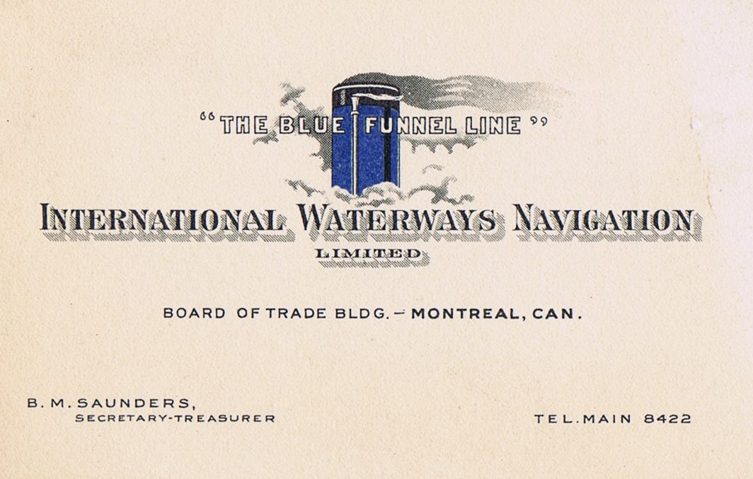 Business Card B M Saunders International Waterways Navigation Limited Montreal