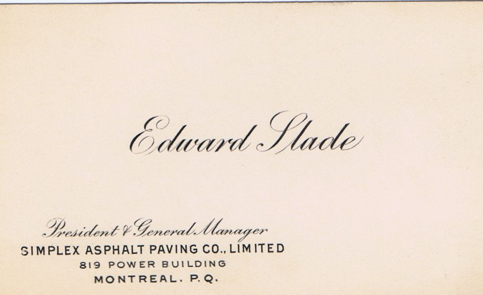 Business Card Edward Slade Simplex Asphalt Paving Co. Montreal