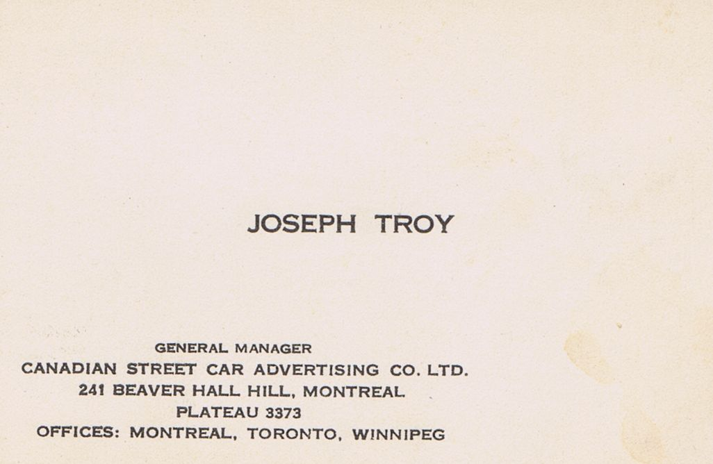 Business Card Joseph Troy Canadian Street Card Avertising Co. Montreal