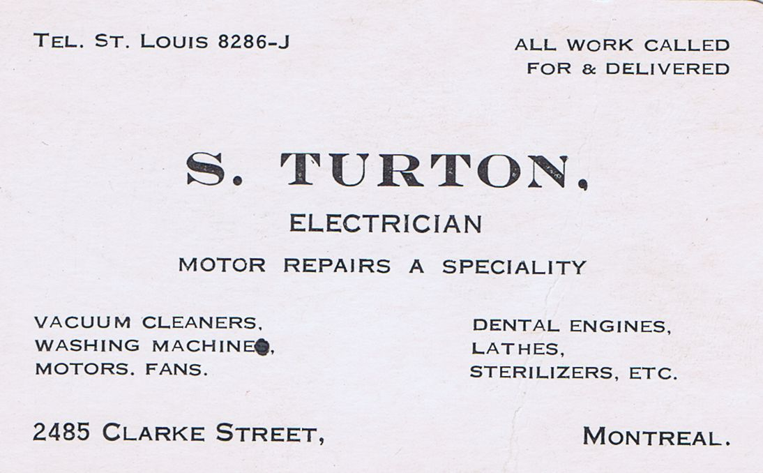 Business Card S Turton Electrician Montreal