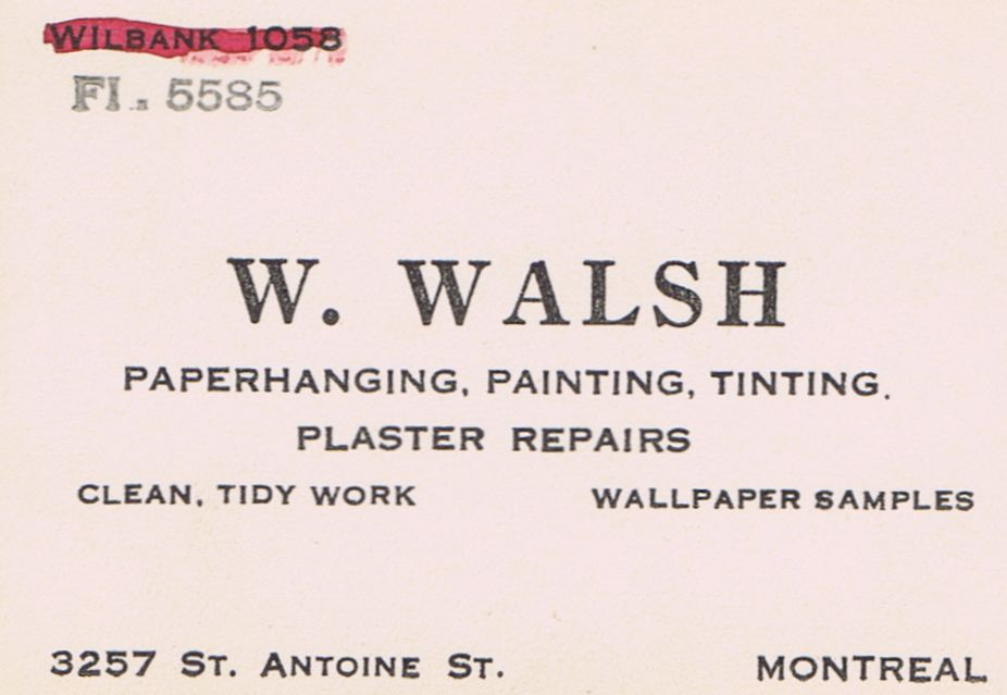 Business Card W Walsh Interior Design Montreal