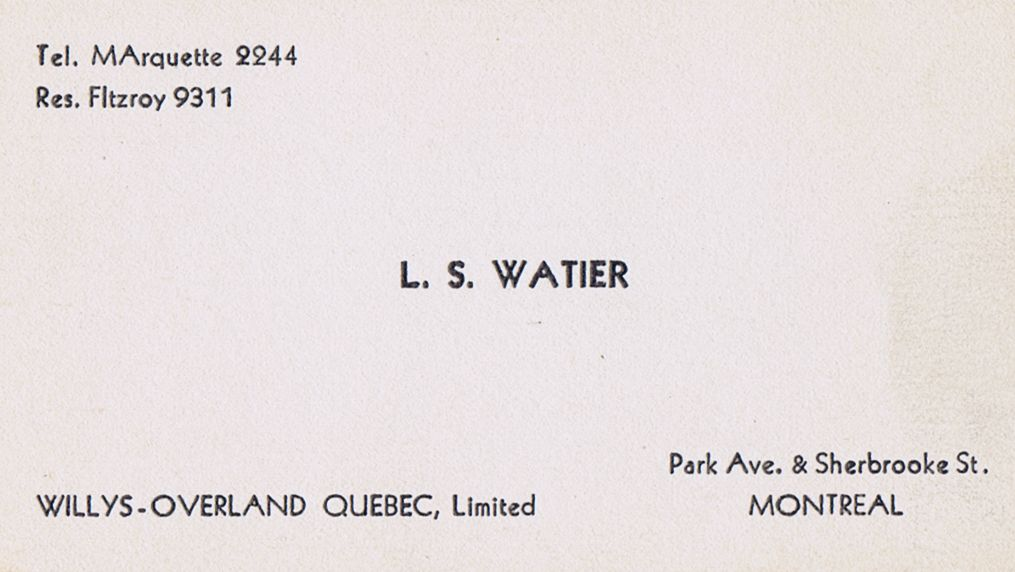 Business Card L S Watier Willys-Overland Montreal