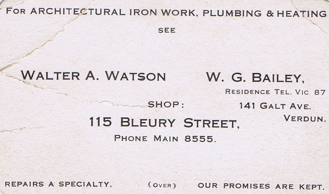 Business Card Walter A Watson & W G Bailey Iron Work Plumbing Heating Montreal
