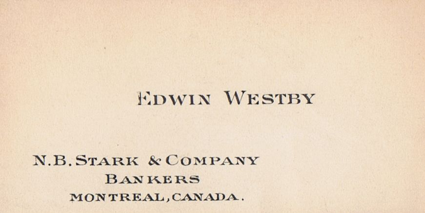 Business Card Edwin Westby N B Stark & Co. Montreal