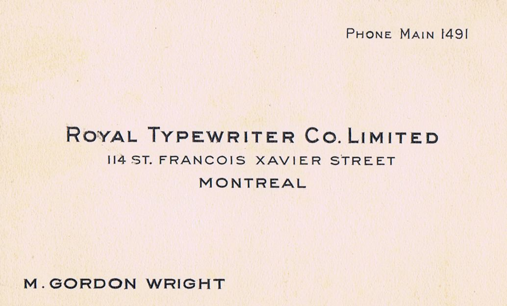 Business Card M Gordon Wright Royal Typewriter Co. Montreal