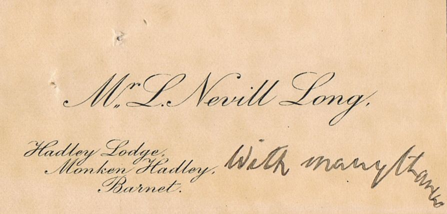 Business Card L Nevill Long Monken Hadley Barnet England