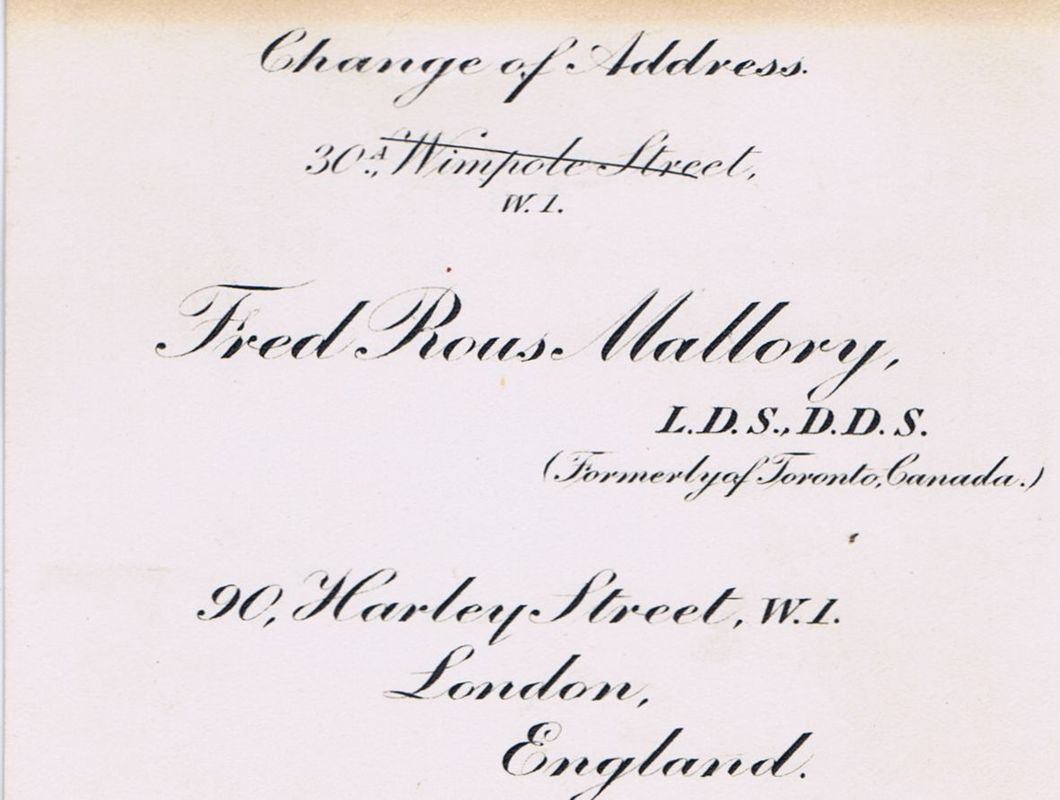 Business Card Dr. Fred Rous Mallory London England