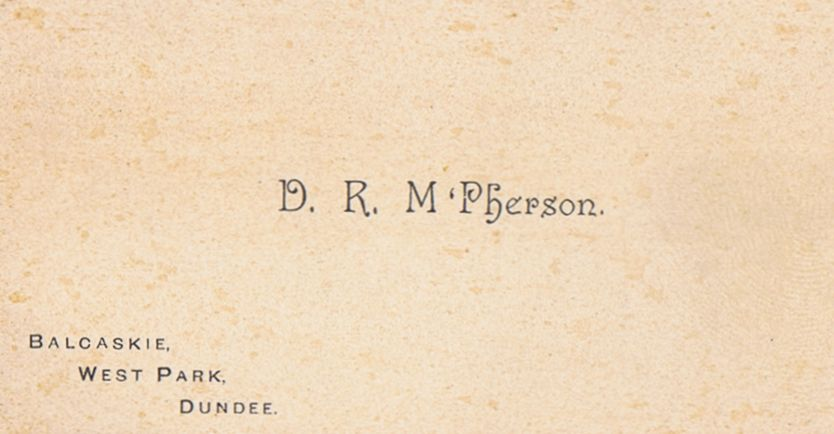 Business Card D R McPherson Dundee Scotland