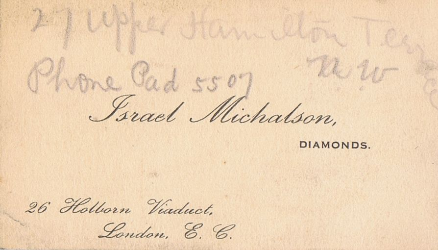 Business Card Israel Michalson Diamond Dealer London England