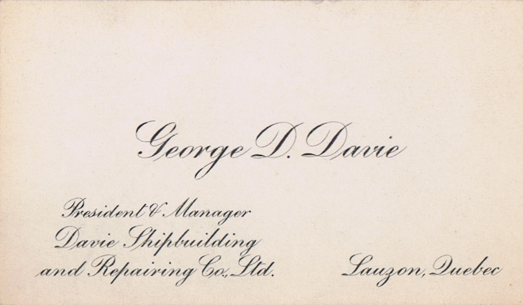 Business Card George D Davie Shipbuilding Lauzon Quebec
