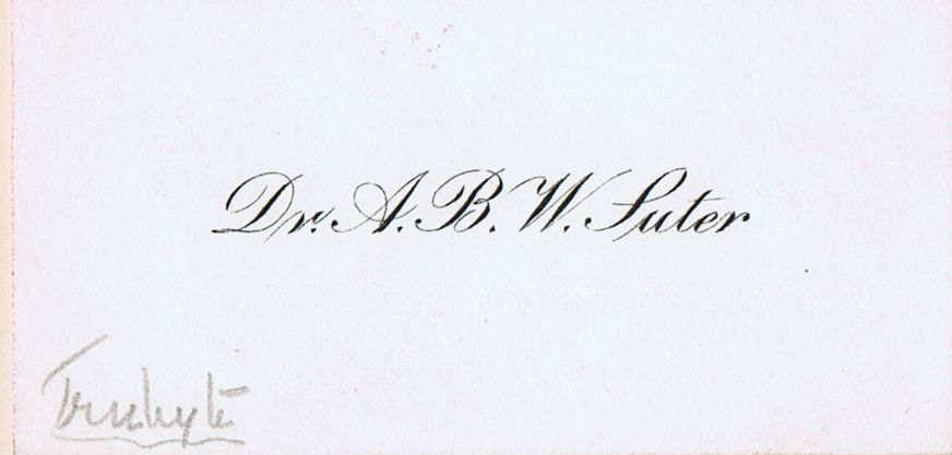 Business Card Dr. A B W Suter