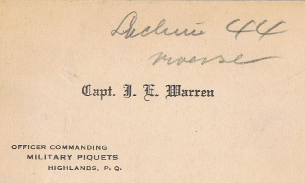 Business Card Capt J E Warren Lachine Quebec